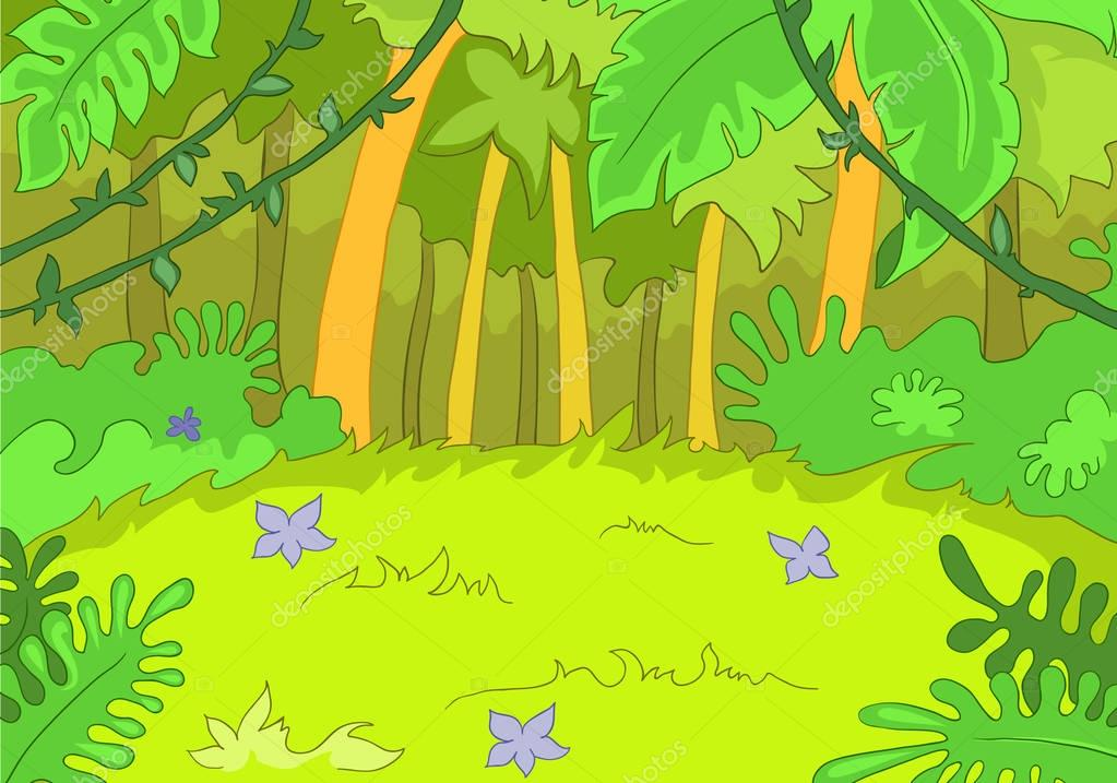 Cartoon Background Of Forest Landscape Stock Photo