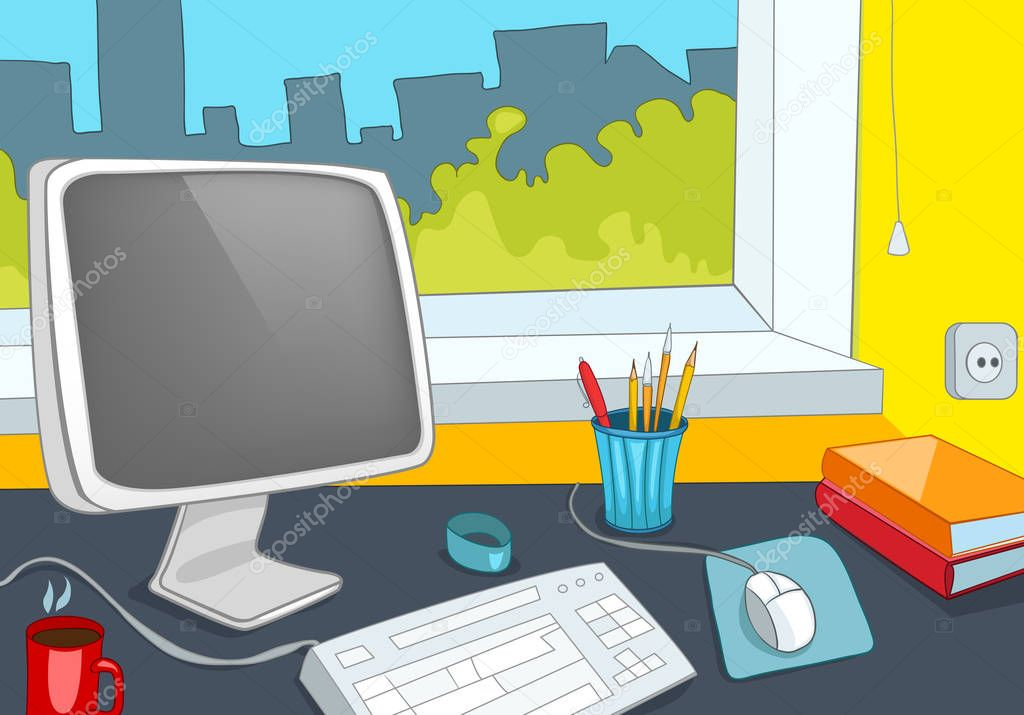 Fondo de dibujos animados de oficina foto de stock for Imagenes de oficina de trabajo