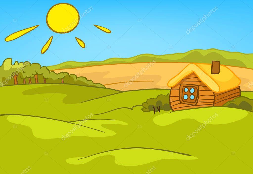 Dessin anim fond de paysage campagne d t photo 129375640 - Dessin maison de campagne ...