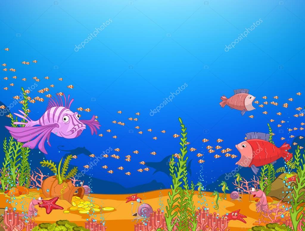 Fondo De Dibujos Animados De Vida Bajo El Agua