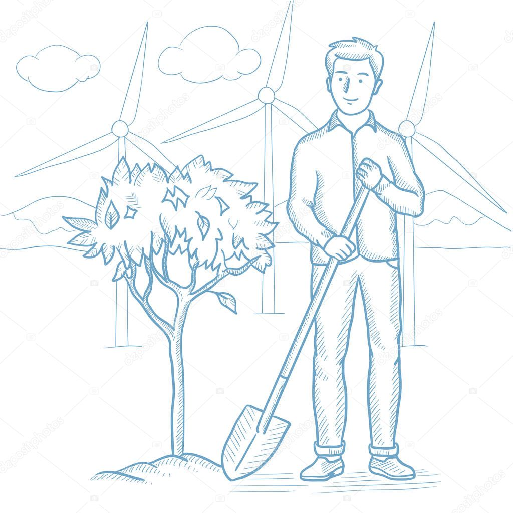 Man plants tree vector sketch illustration.