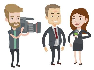 TV interview vector illustration.