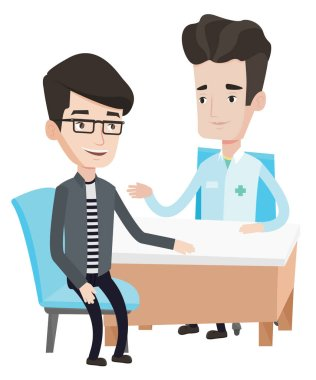 Doctor consulting male patient in office.