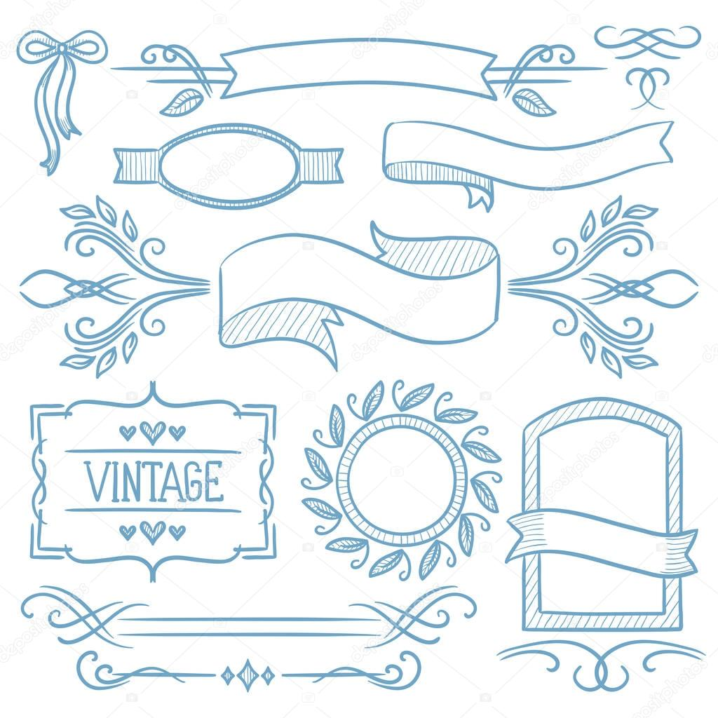 Marcos lindos para decorar hojas conjunto de cintas vintage marcos y elementos vector de - Marcos de fotos vintage ...