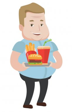 Man holding tray full of fast food.