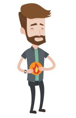 Man suffering from heartburn vector illustration.