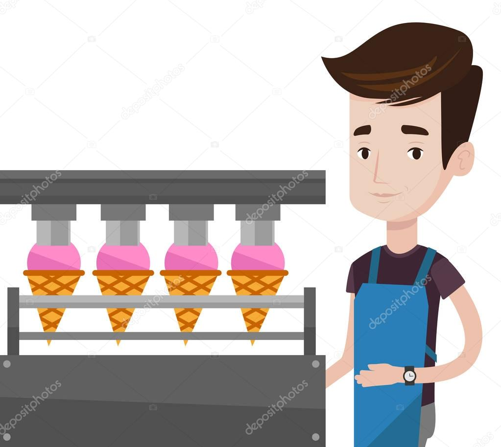 Worker of factory producing ice-cream.