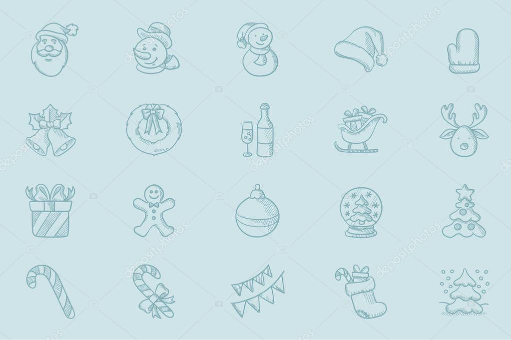 Vector sketch jeu d\'icônes pour carte de voeux de Noël — Image ...