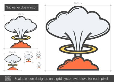 Nuclear explosion line icon.