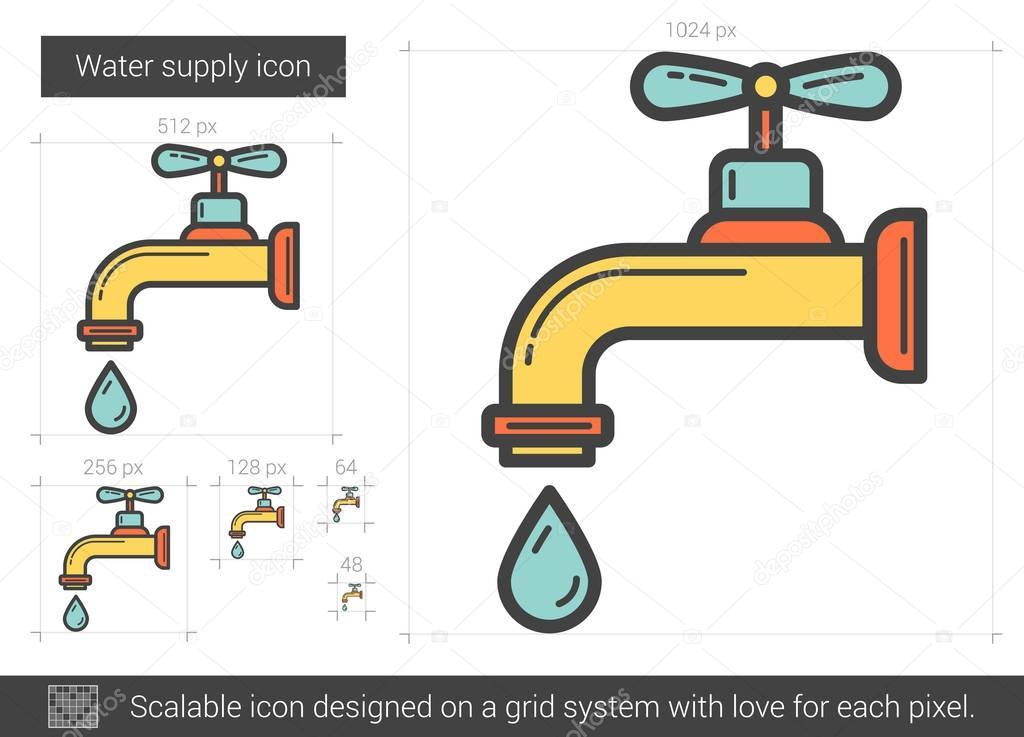 Wasserversorgung Liniensymbol — Stockvektor © rastudio #130021852