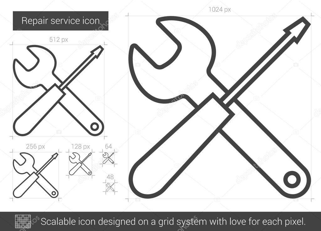 Reparatur-Service-Line-Symbol — Stockvektor © rastudio #130122184