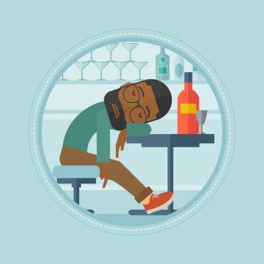Drunk man sleeping in bar vector illustration.