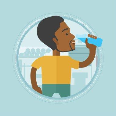 Sportive man drinking water vector illustration.