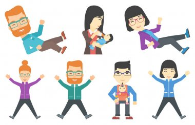 Vector set of families and business characters.