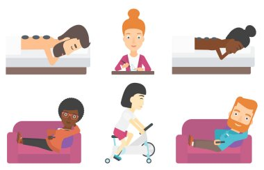 Set of relaxing people and business characters.