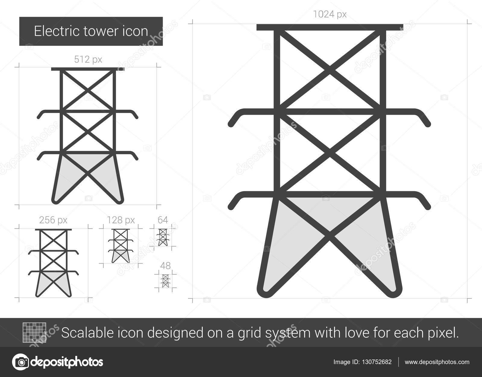Elektrische Turm Symbol — Stockvektor © rastudio #130752682