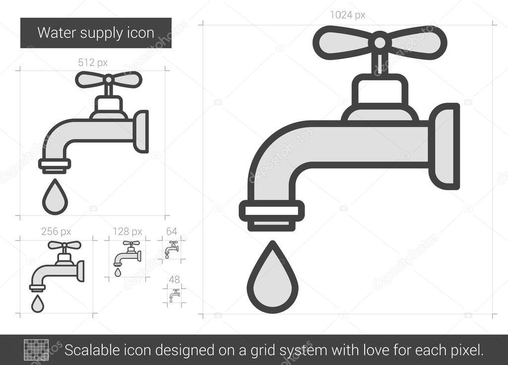 Wasserversorgung Liniensymbol — Stockvektor © rastudio #130753416
