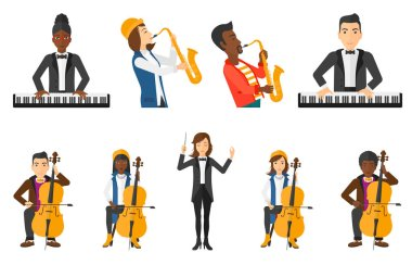 Vector set of musicians people characters.