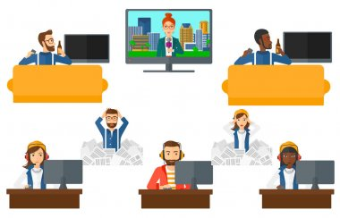 Vector set of business characters and media people
