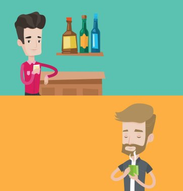 Two drinks banners with space for text. Vector flat design. Horizontal layout. Man drinking hot flavored coffee. Young man holding cup of coffee with steam. Man with his eyes closed enjoying coffee. stock vector