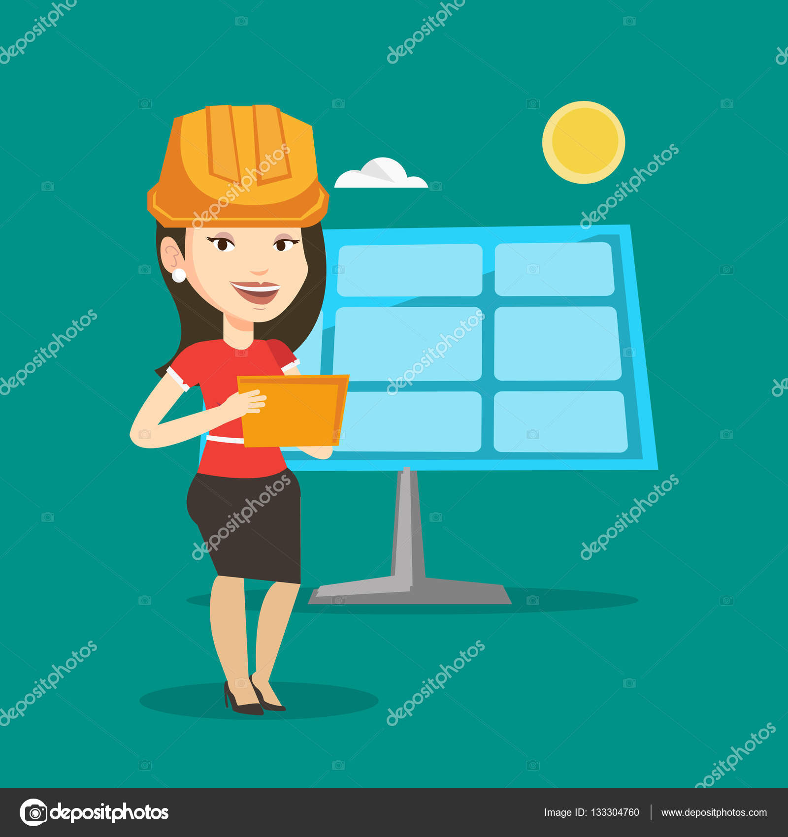 Female Worker Of Solar Power Plant Stock Vector Rastudio 133304760 Layout Design Caucasian Engineer In Hard Hat Checking Panel Setup Flat Illustration Square