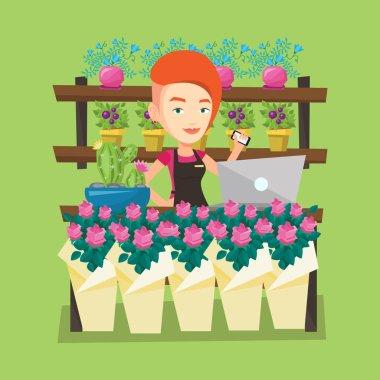 Çiçekçi Çiçek Dükkanı vektör çizim.