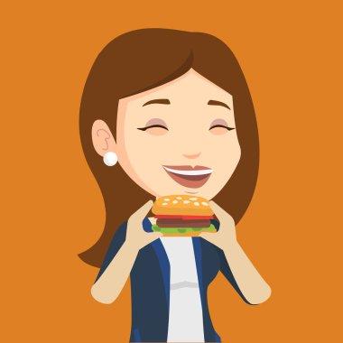Woman eating hamburger vector illustration.
