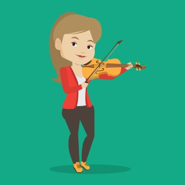 Woman playing violin vector illustration.