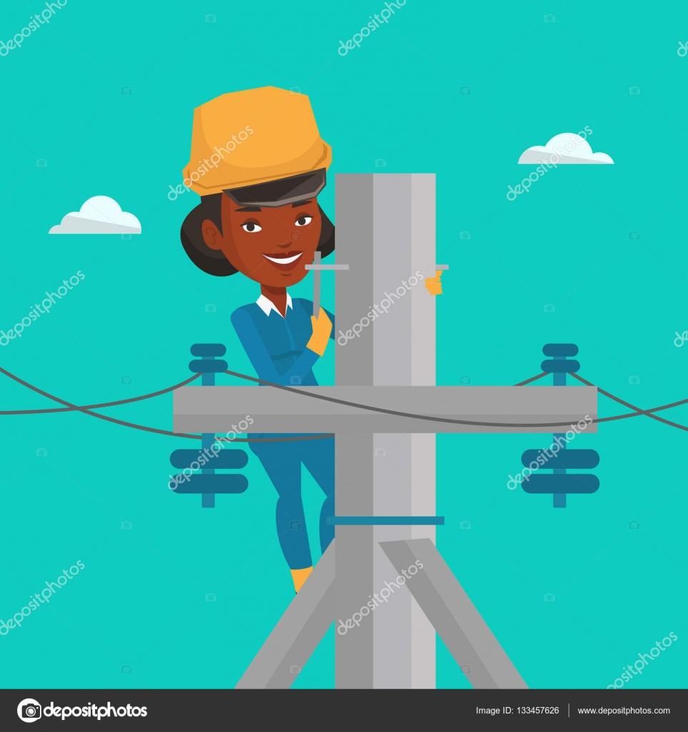 Elektriker arbeiten auf Elektroenergie Stange — Stockvektor ...