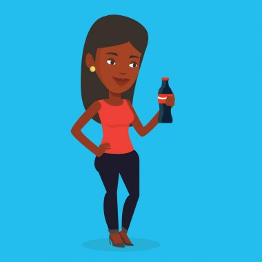 Young woman drinking soda vector illustration.