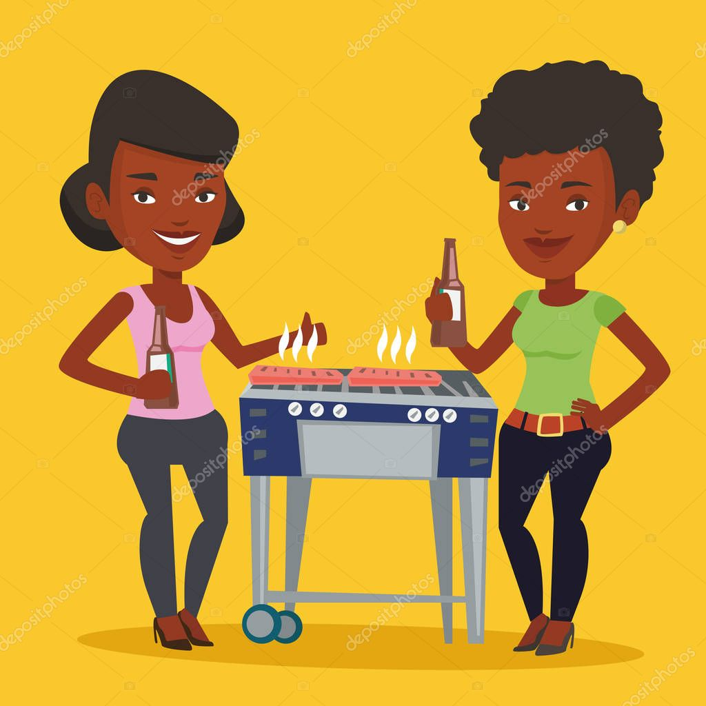 Young African American Woman With Apple And Fast Food Before.. Royalty Free  Cliparts, Vectors, And Stock Illustration. Image 110508953.