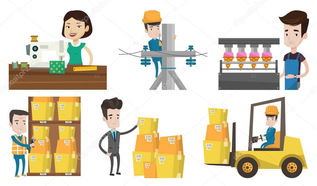 Vector set of industrial workers.