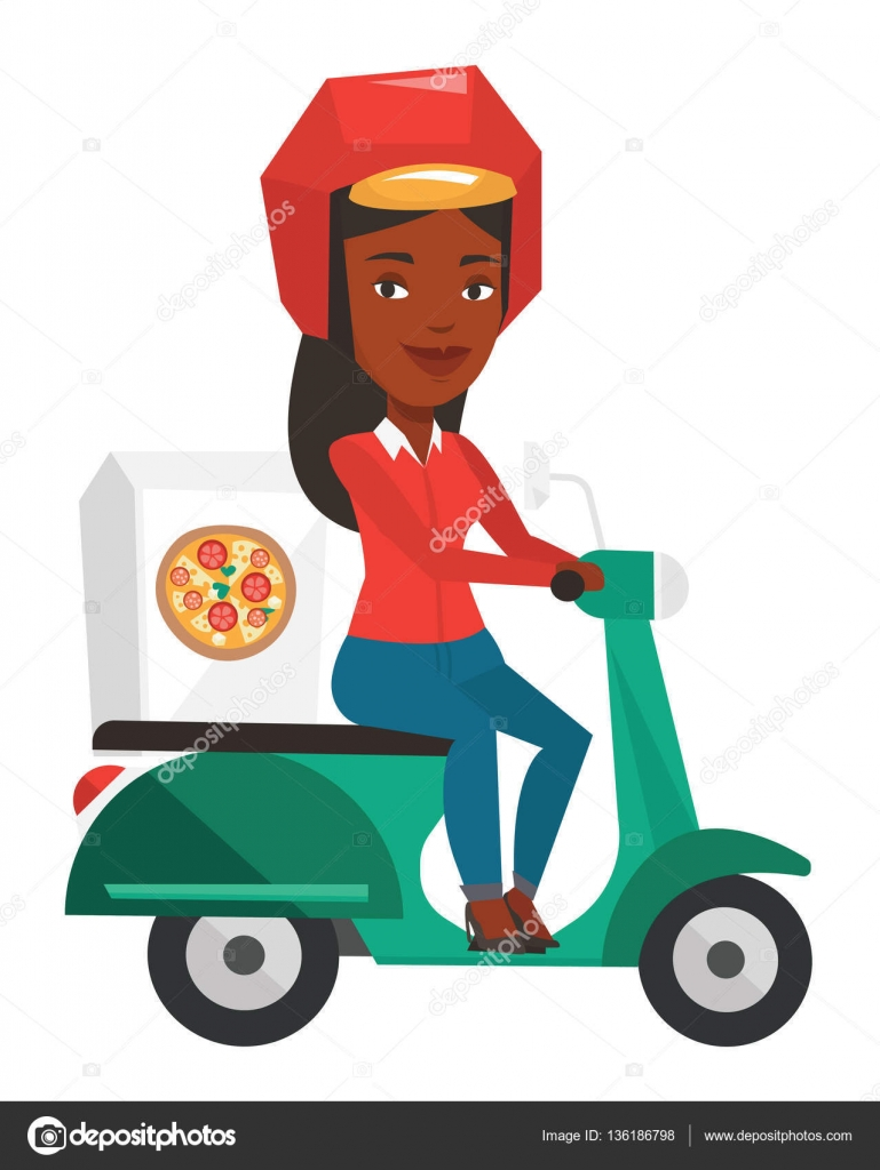 Mensajero entrega de pizza en moto — Vector de stock © rastudio ...