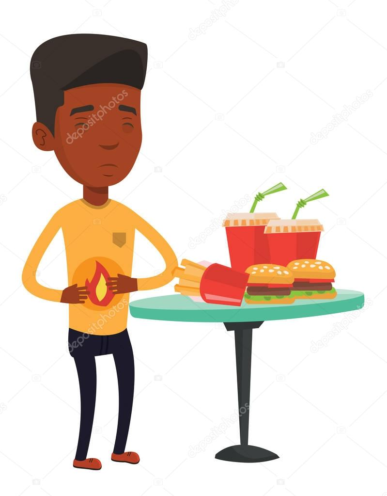 african american man suffering from heartburn young man having stomach ache from heartburn man having stomach ache after fast food vector flat design illustration isolated on white background premium vector in adobe heartburn man having stomach ache