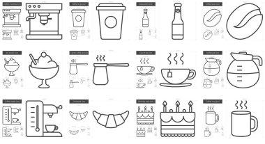 Junk food line icon set.