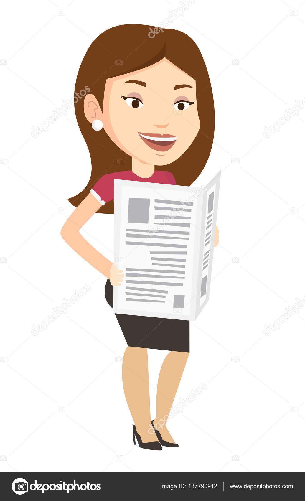 woman reading newspaper vector illustration. — stock vector