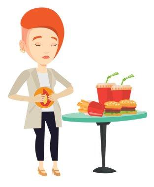 Woman suffering from heartburn vector illustration