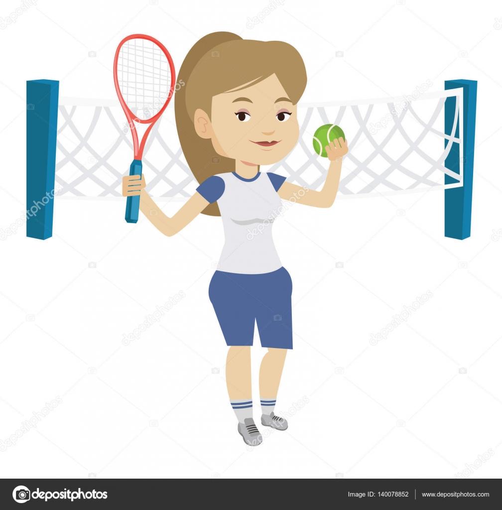 Tenis pelota stock de ilustracion ilustracion libre de stock de - Cauc Sica Deportista Jugando Al Tenis Sonriente El Jugador Parado En La Cancha Feliz Mujer Tenista Sosteniendo Una Raqueta Y Una Pelota Ilustraci N De