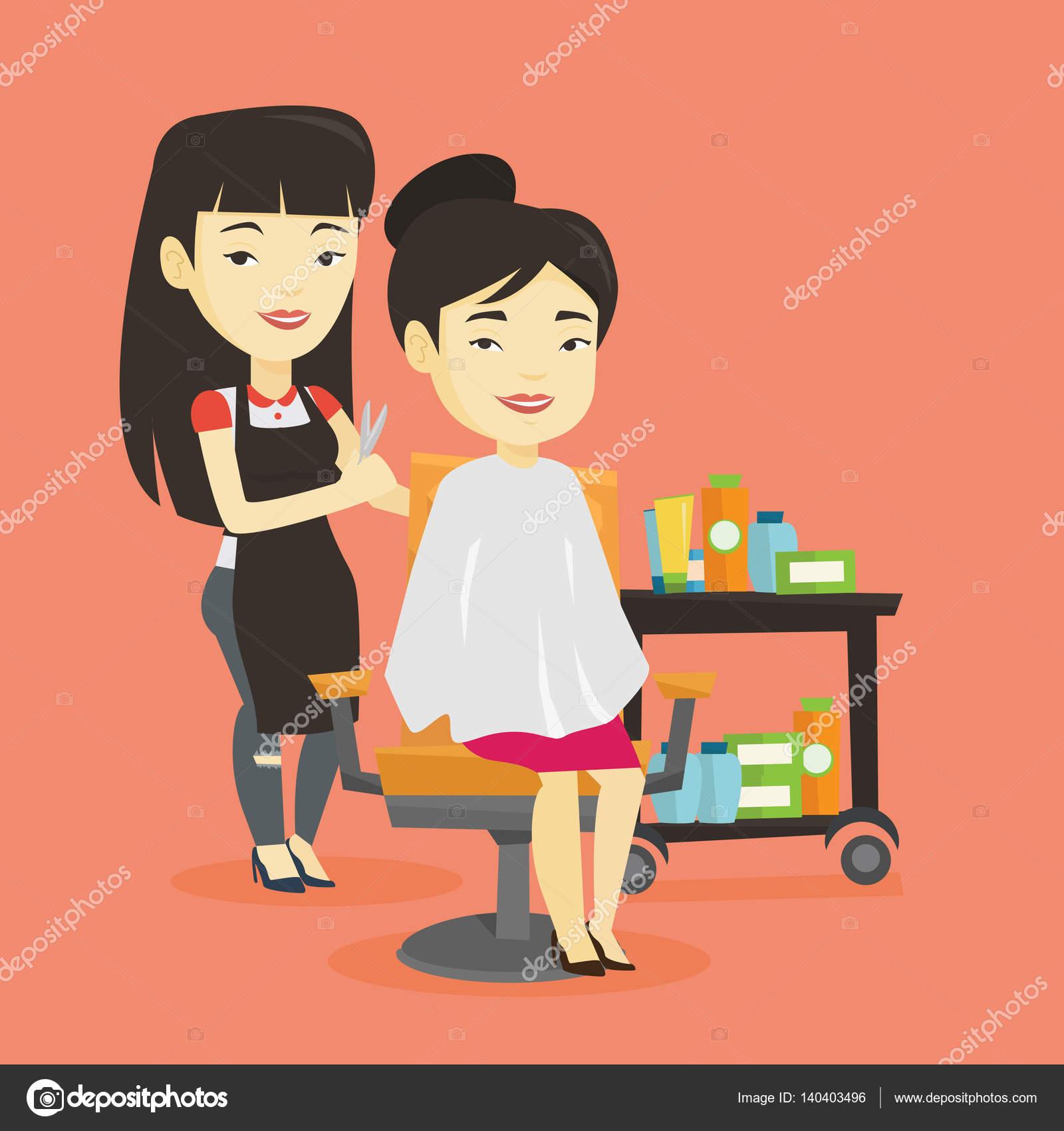 散髪をする若い女性美容師 ストックベクター Rastudio 140403496