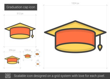 Graduation cap line icon.