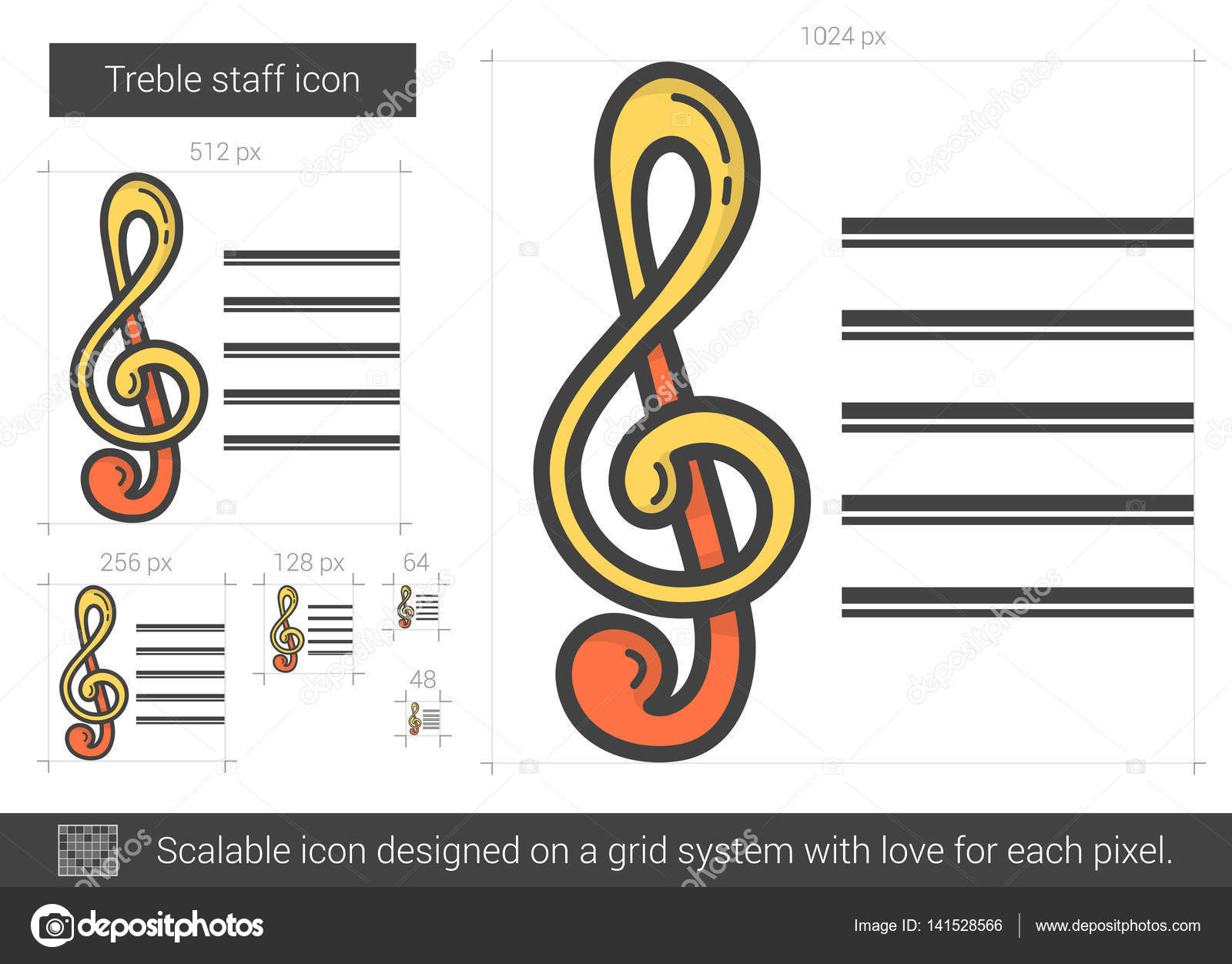 treble staff line icon stock vector