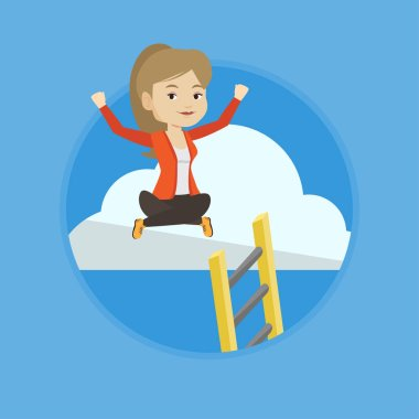 Happy business woman sitting on cloud with ledder. Business woman relaxing on a cloud. Business woman with rised hands on a cloud. Vector flat design illustration in the circle isolated on background. clip art vector