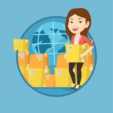 İş çalışan uluslararası teslim hizmet.