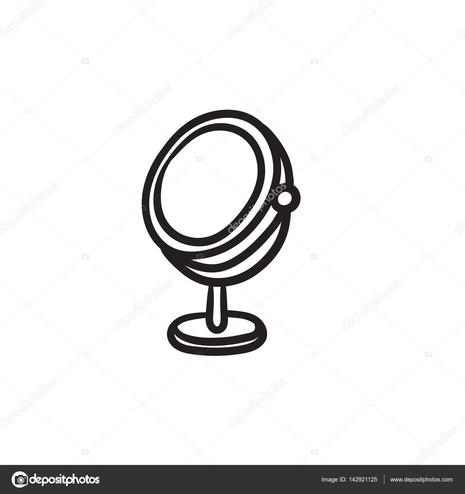hand mirror sketch. Round Makeup Mirror Vector Sketch Icon Isolated On Background. Hand Drawn Icon. For Infographic,