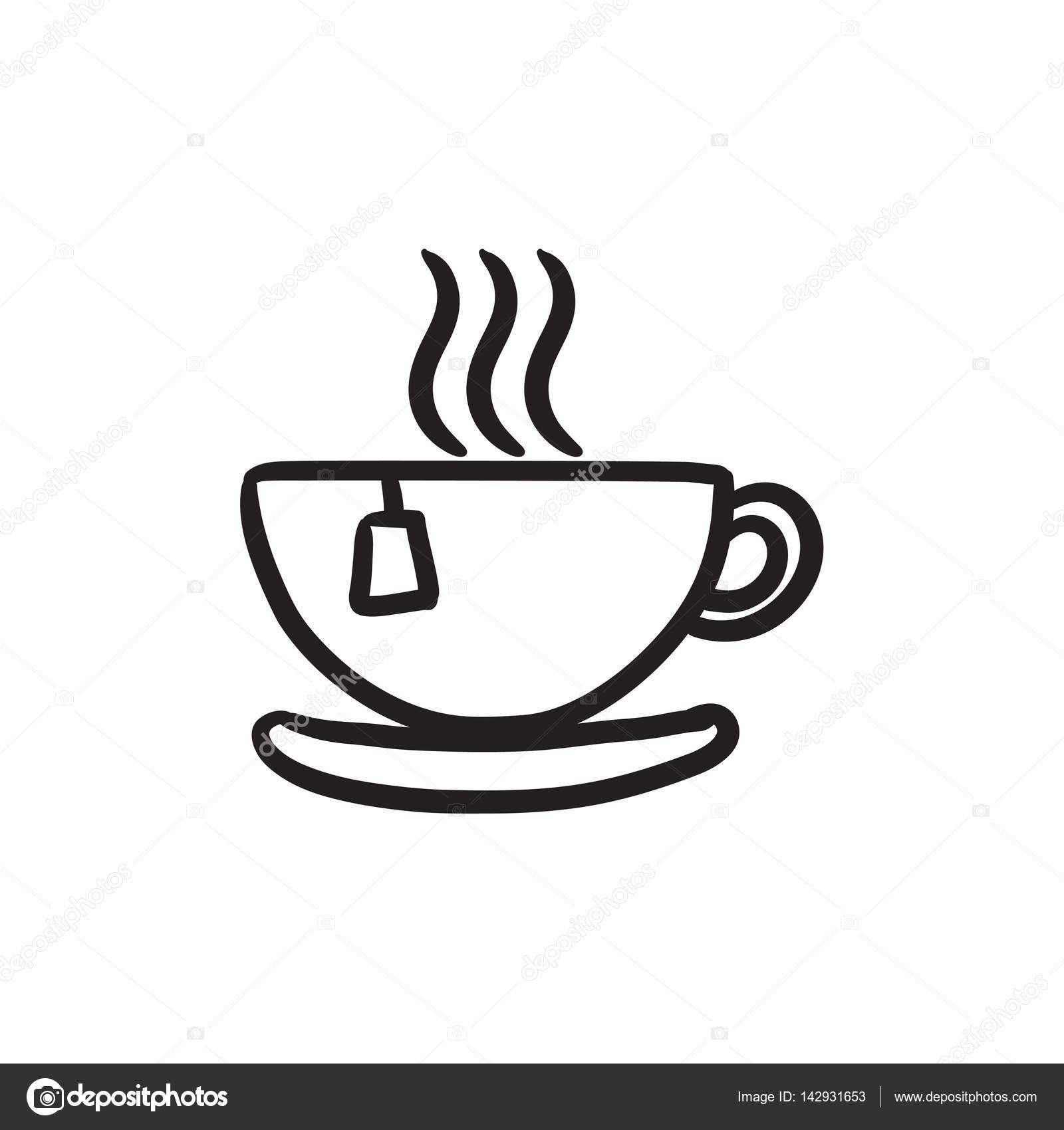 Hot Tea In Cup Sketch Icon Vector Image By C Visualgeneration Vector Stock 142931653