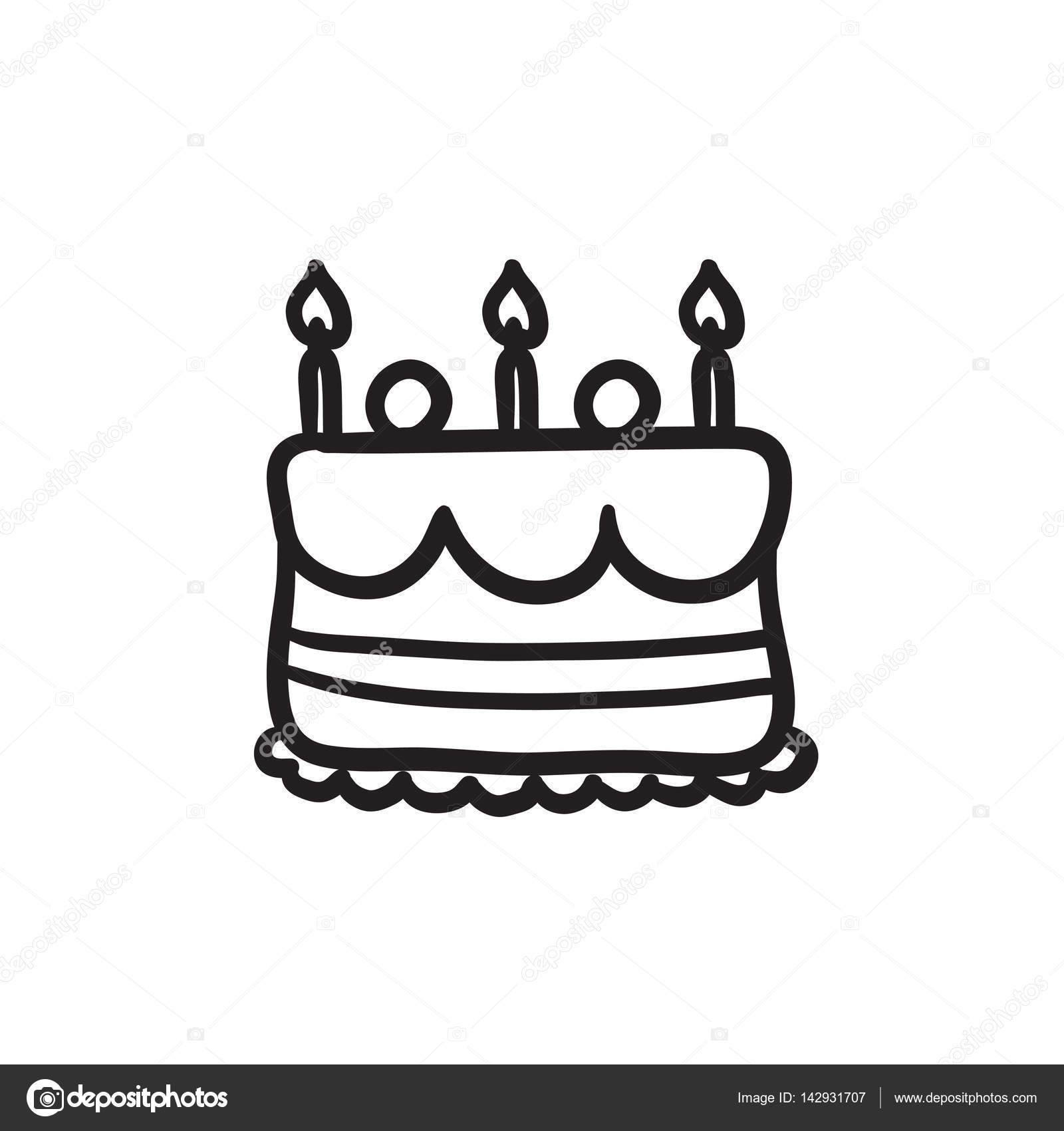 Birthday cake with candles sketch icon Stock Vector rastudio