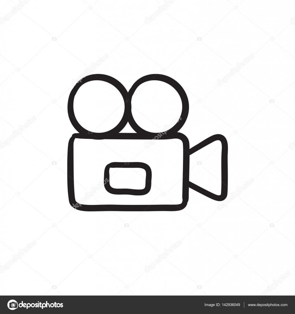 Video Camera Sketch Icon Stock Vector C Visualgeneration 142936049