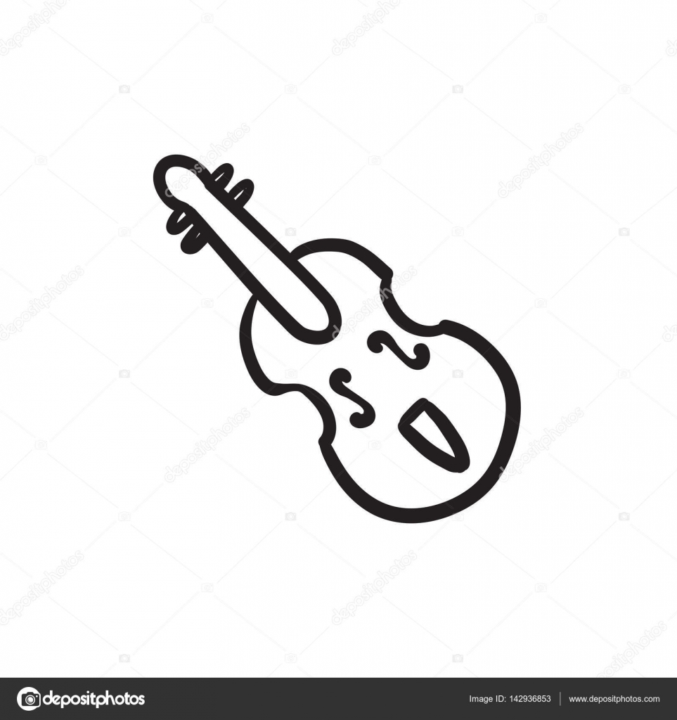 Cello Vector Sketch Icon Isolated On Background Hand Drawn For Infographic Website Or App By Rastudio