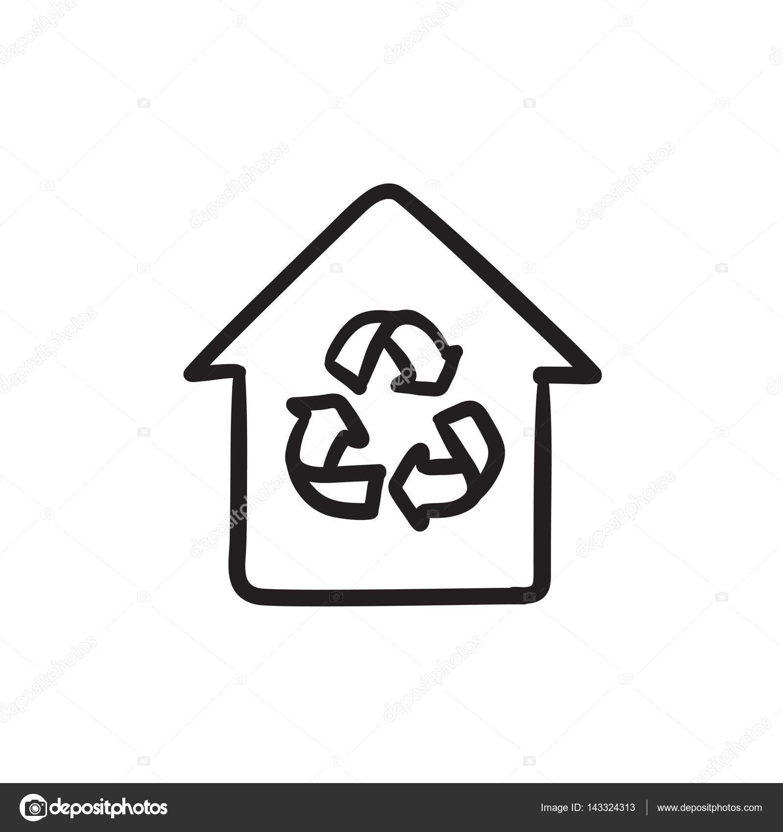 casa com o ícone de desenho do símbolo de reciclagem vetor de
