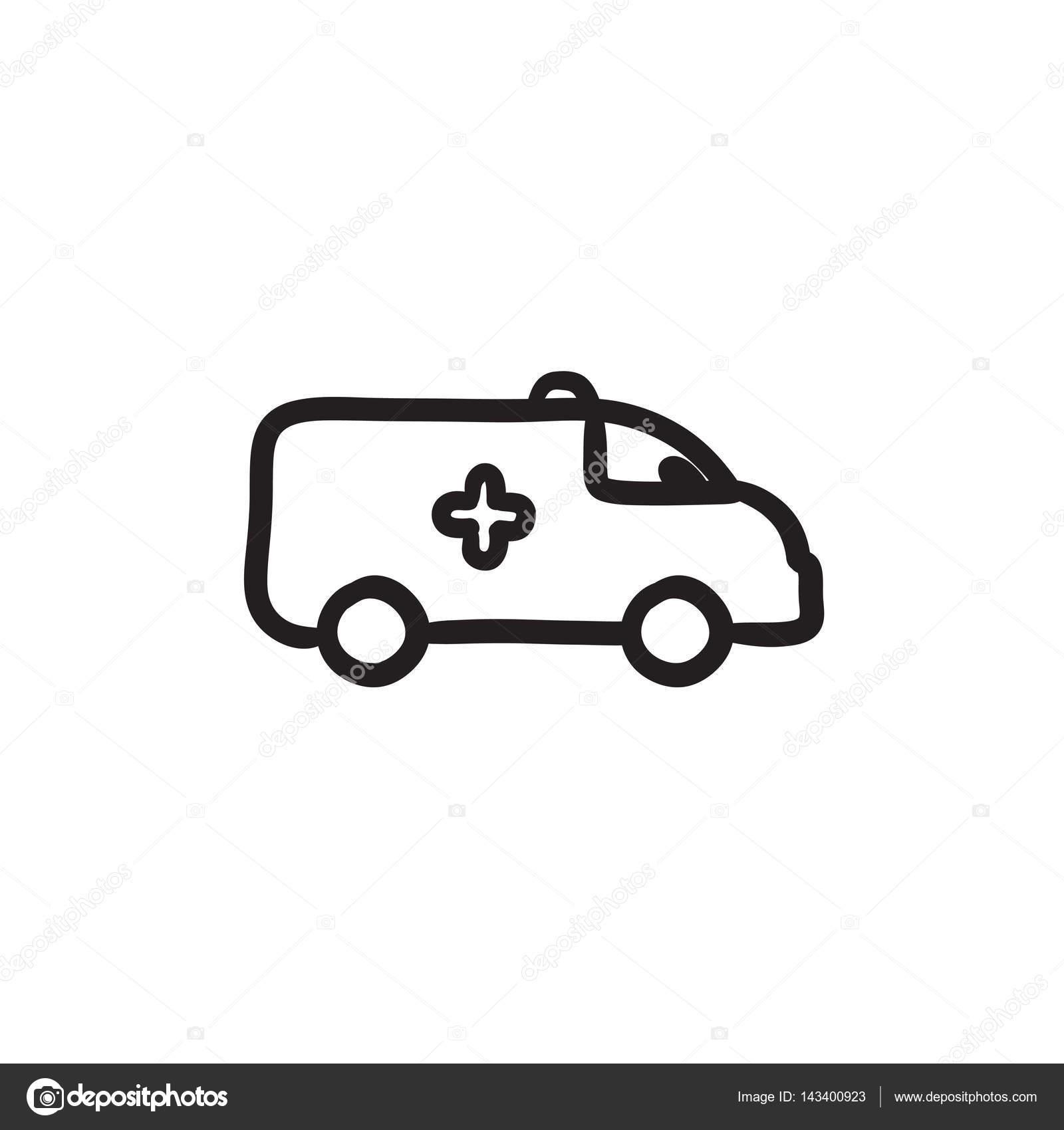 Ambulanz-Auto-Skizze-Symbol — Stockvektor © rastudio #143400923